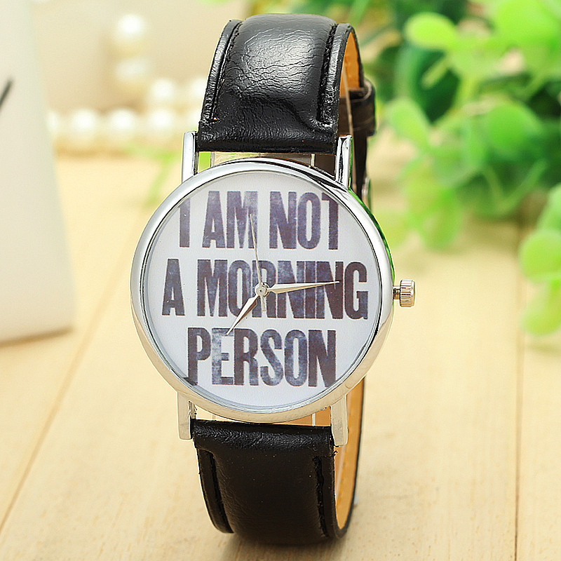 4 colors New Arrival Leather Strap Watch I AM NOT A MORNING PERSON Watches Women Quartz Watch Relogio BW-SB-1543(China (Mainland))