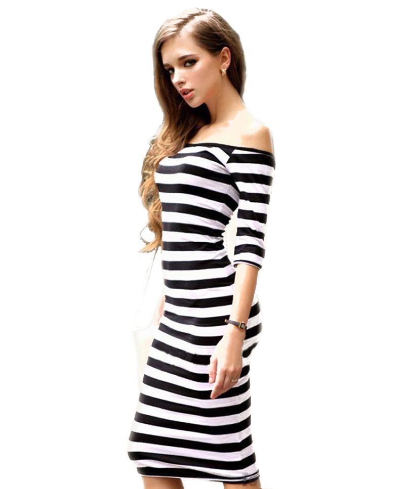 2016 Women Summer Style Dress Sexy Off The Shoulder Knee Length Random Striped Half Sleeve Bodycon P