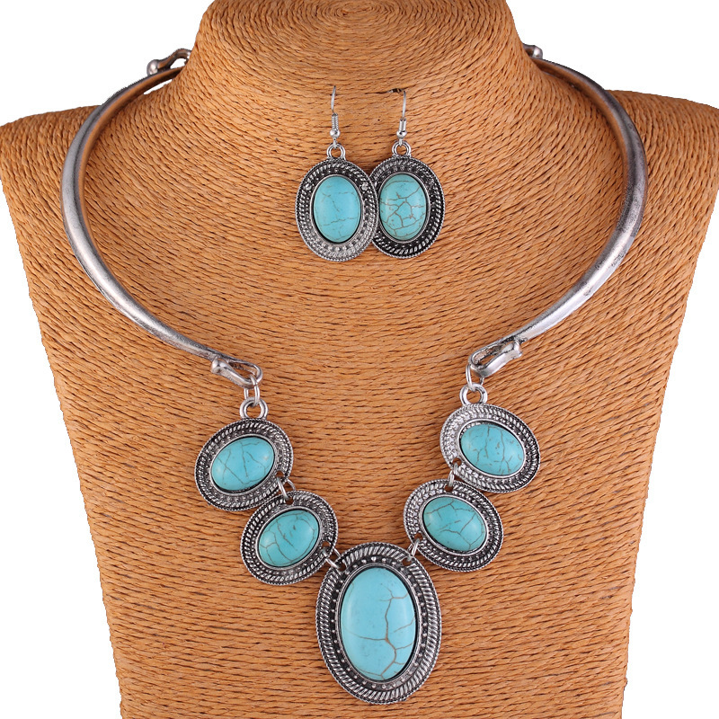 Torques Necklace and Earring Pendant Jewelry Vintage Silver Plated Turquoise Jewelry 2016 Spring Fashion Jewelry For Women(China (Mainland))