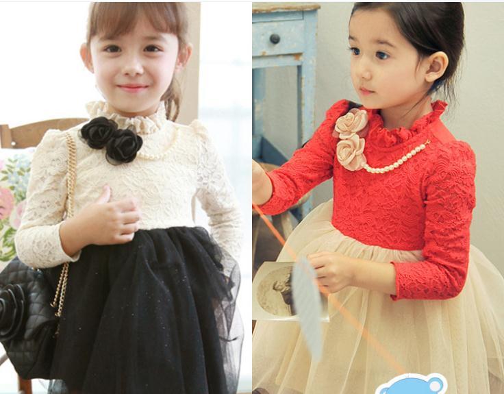 5pcs/lot Autumn baby girl dress white red long sleeve flower necklace lace dress cute girls princess dress children dresses<br><br>Aliexpress