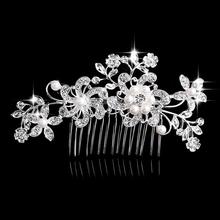 Charm Flower Rhinestone Hair Slide Floral Head Piece Pearl Wedding Hair Comb Clip Crystal Bridal Hairpin Jewelry Hair Accessory(China (Mainland))
