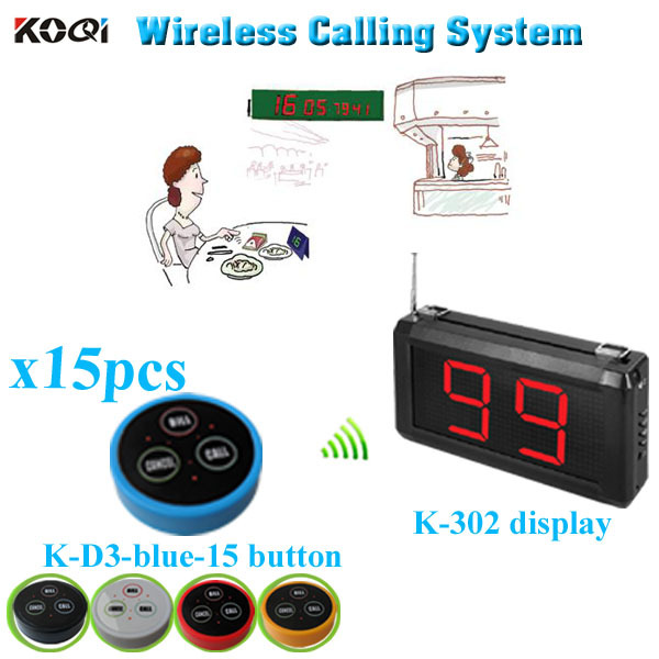 Restaurant Paging Waiter System with K-302 monitor K- D-3 transmitter button (1 display+15 table bell button)(China (Mainland))