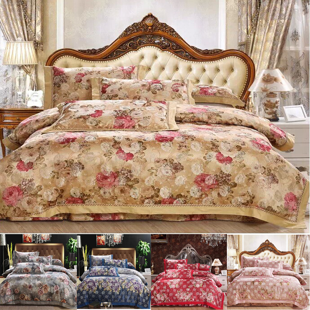 Luxury bedding sets satin silk cotton king size bedding for Housse couette satin