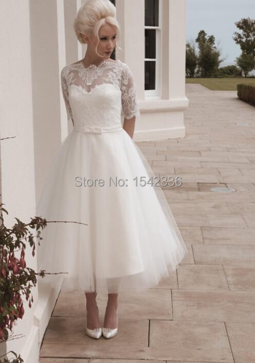 romantic tea length wedding dresses
