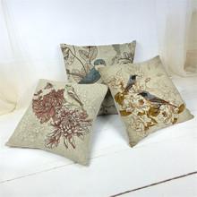 Vintage style retro flowers birds cotton linen throw pillows case