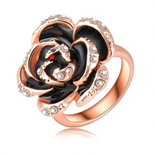 Fashion Black Rose Ring Real 18K Rose Gold Plated Genuine Austrian Crystal Rings Wedding Jewelry Free Shipping Ri-HQ0127