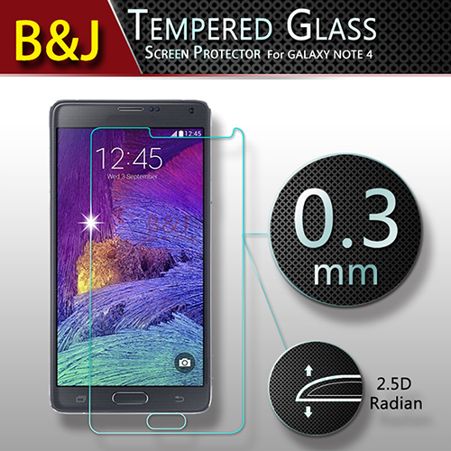 Anti-shatter Clear 2.5D Tempered Glass Screen Protector Samsung Galaxy Note 4 N9100 Protective Film Retail Package - Guangzhou B&J Trading Co., Ltd. store