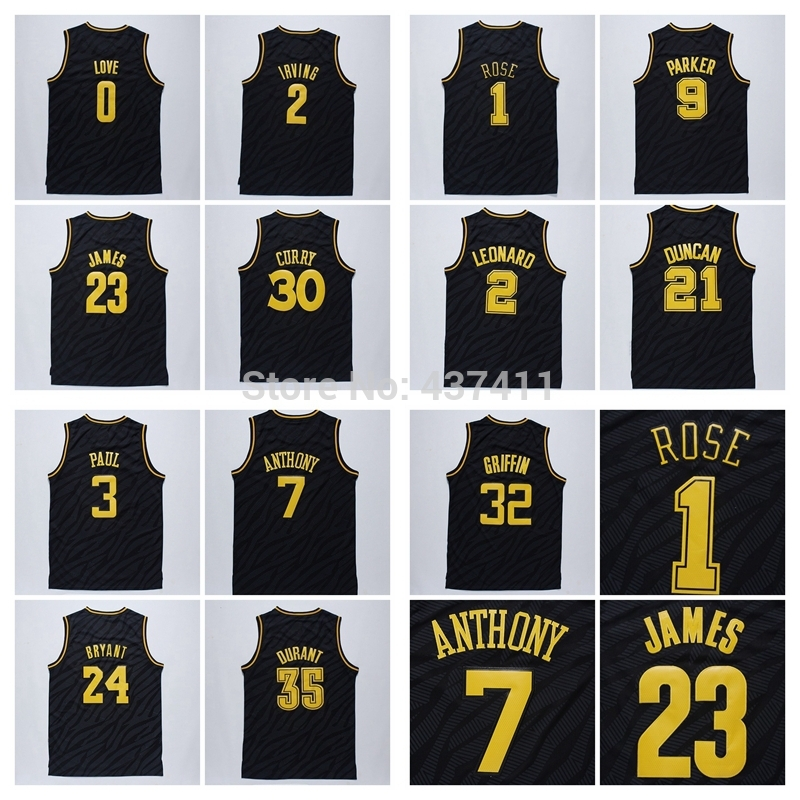 Black Precious Metals Fashion Jersey,Bryant,Durant,Rose ,Anthony,Curry,James,Irving,Love Black Precious Metals Fashion Jersey(China (Mainland))