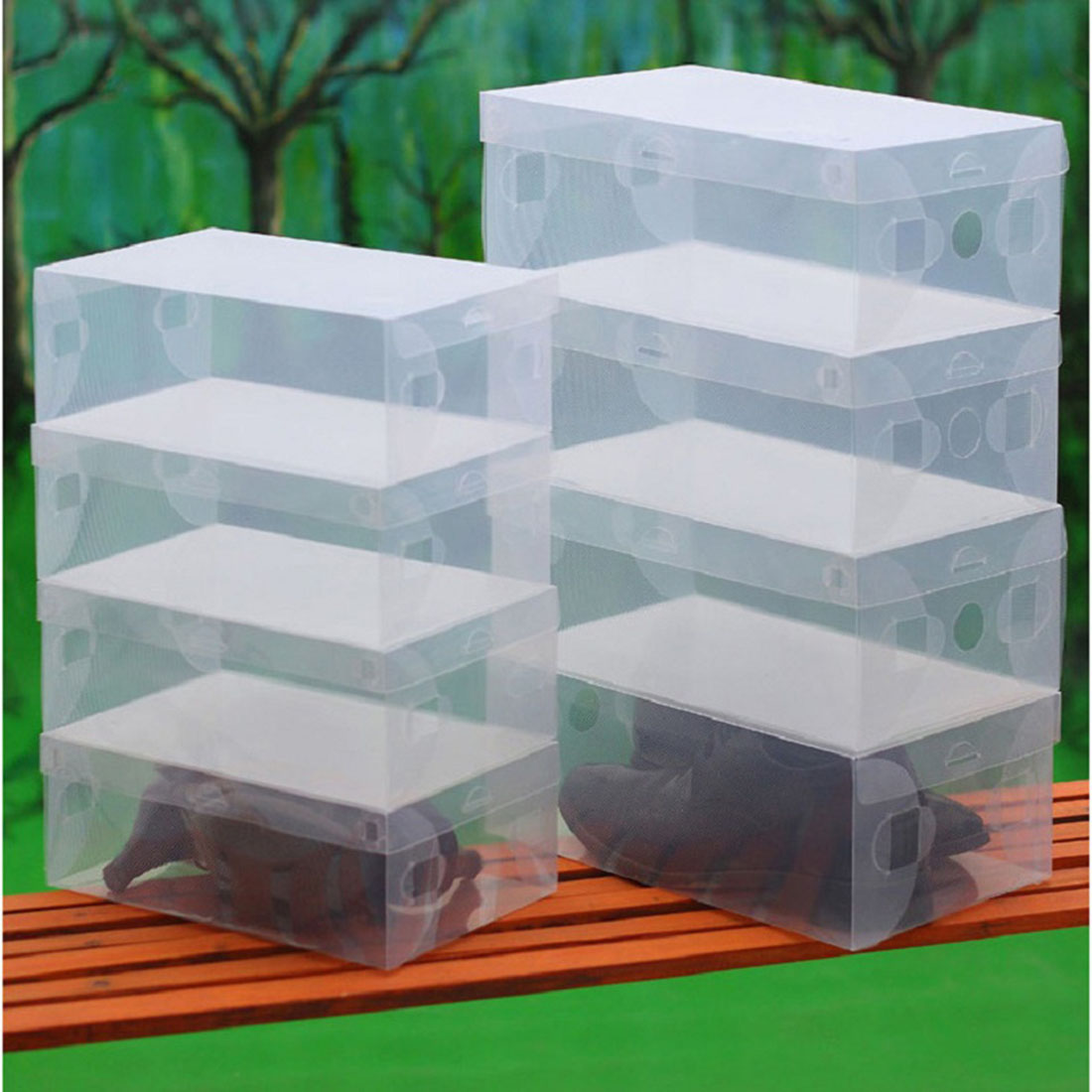 new style 10Pcs Transparent Clear Plastic Shoes Storage Boxes Foldable Shoes Case Holder(China (Mainland))