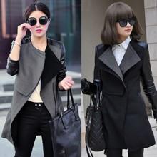 Winter Coat Hot 2014 New Fashion Women Blends PU Leather Jacket Black Stitching Overcoat Sleeve Patchwork Plus Size SV03(China (Mainland))