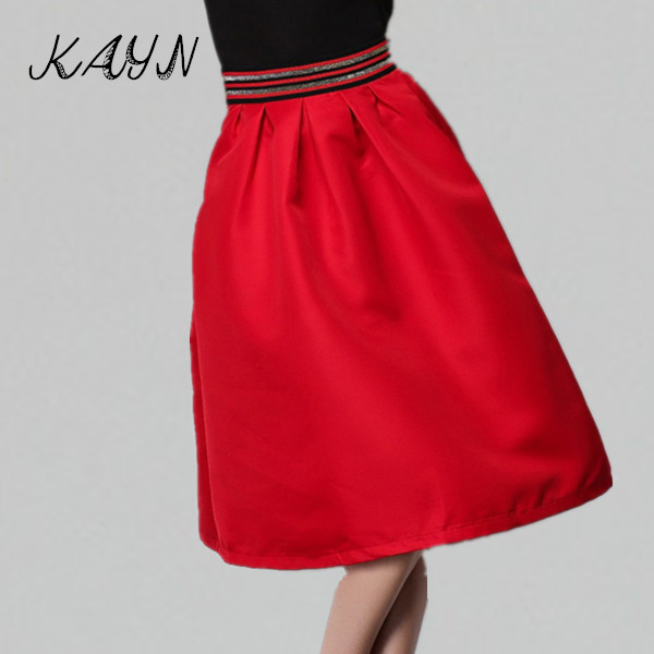 Brand New 2015 Saias Women Clothing Spring Summer Fashion Solid Adult Tutu Skirt Black Red Ladies High Waist Knee Length - KAYN Boutique store