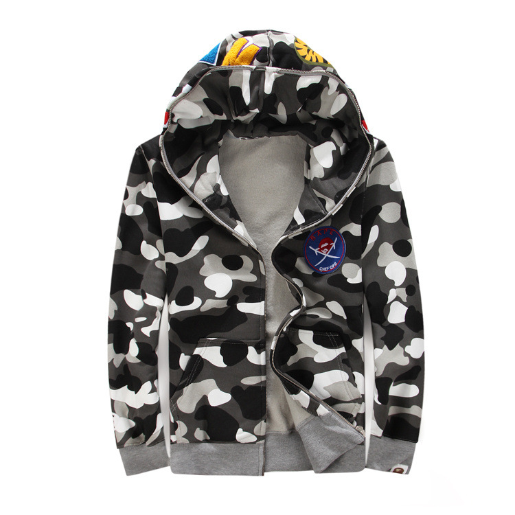 Bape Shark Hoodie Men Luminous Camo Mens Sweatshirt Hip Hop Coats Autumn Winter Zipper Streetwear Moletom Thrasher Hoodies Brand - Top Trends Co store