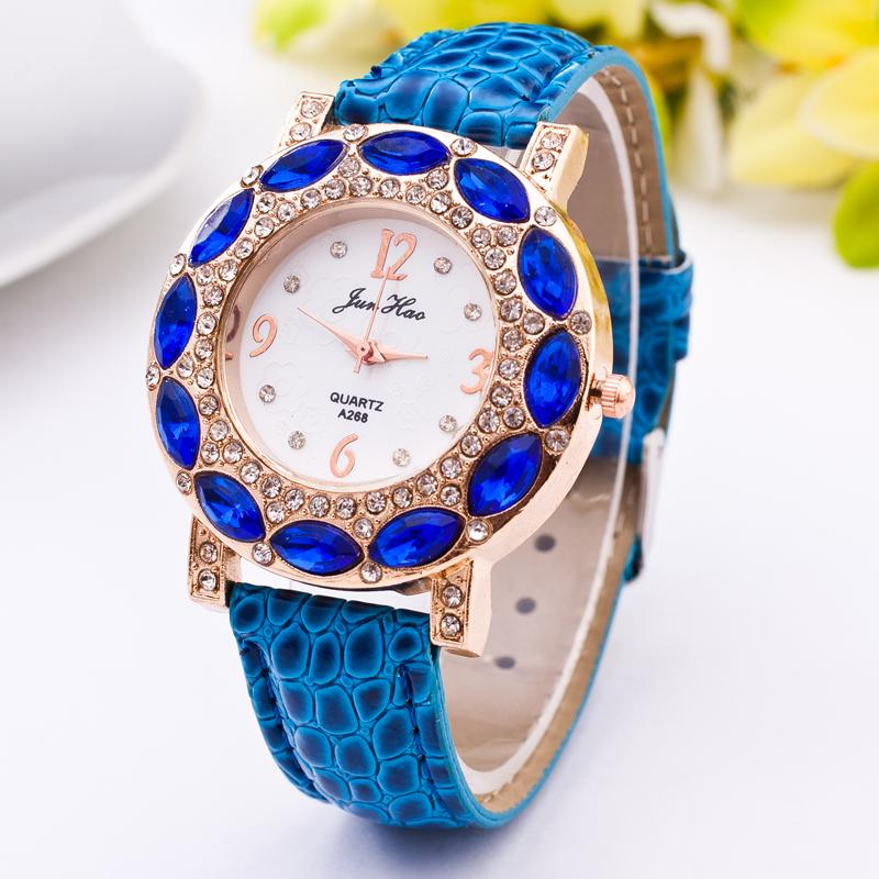 2016 New Fashion Brand Casual Watches Women Rhinestone Quartz Wristwatches Style Luxury Leather Crystal Dress Blue - Her jewelry box ( Min. Order $7 store)