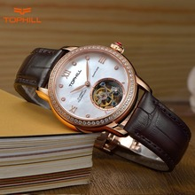 2016 Tophill New Women Automatic Self-Wind Skeleton 19 Jewelry Diamond Genuine Aligator Leather Strap Waterproof Wrist Watch(China (Mainland))