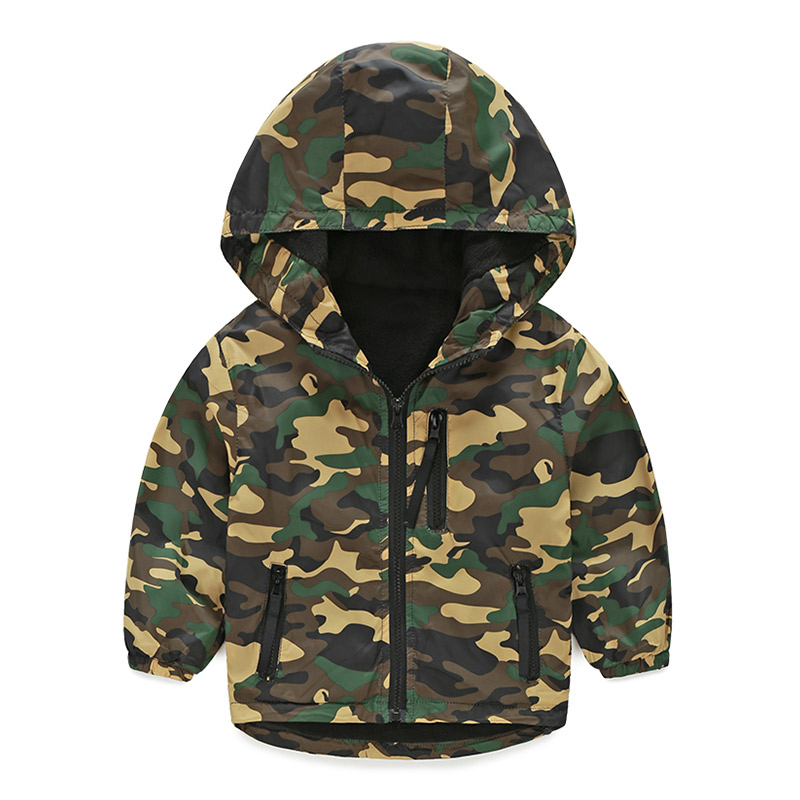 Children Clothing Boys Coats Hooded Camouflage Spring