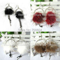Sale 2014 Newest Ladies' Vintage punk girls real genuine fur rabbit cony hair Feather Rhinestone Dangle Earring for women