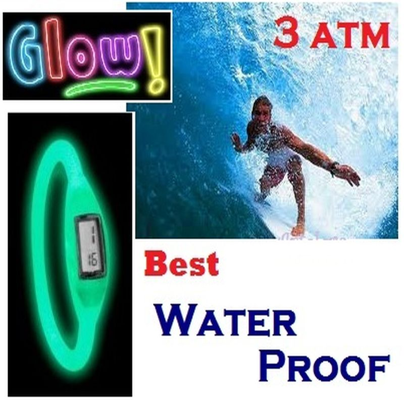 TOP Silicone ION Sport WATCH GLOW in the Dark Men Women Silicon Jelly Rubber Man Ladies Fashion 3ATM waterproof school student(China (Mainland))