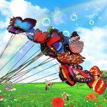 Livraison gratuite 20 Pcs papillon coloré jardin ornement Flowerpot décor papillon w / bâton FCI #(China (Mainland))