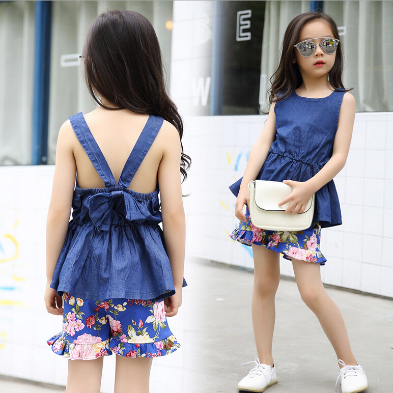 Latest Fashion High Quality Girls Flowers Print Girls Clothing Jeans Dress+Short Pants 2Pcs Sets suits Children Kids Suit 3-12Y(China (Mainland))