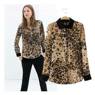 new 2014 leopard print long sleeve shirt unlined upper garment fashion turn-down collar chiffon women blouse  -  Grace 's store store