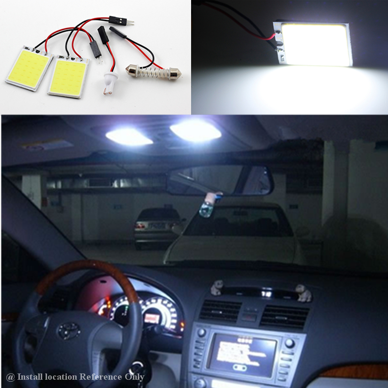 car styling cob 24 led interior festoon panel dome lights kit t10 194 w5w 168 base reading lamp. Black Bedroom Furniture Sets. Home Design Ideas