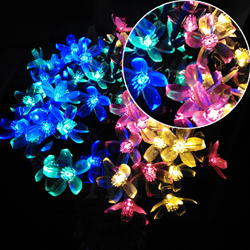 12M 100Led Solar Flower String Lights Cherry Pendant Decoration Park Outdoor Garden Holiday Garland Wreaths Lights Waterproof(China (Mainland))