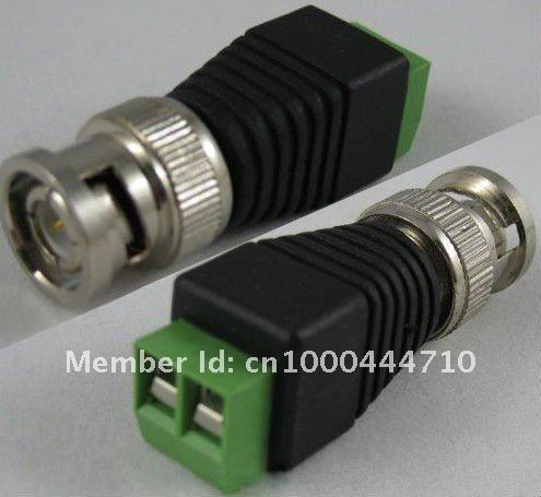 100PCS/lot CCTV BNC male to terminal Coax CAT5 To Camera CCTV BNC Video Balun Connector to BNC Male Coax Connector,free shipping