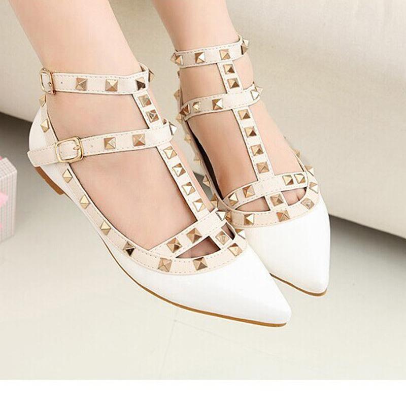 New Women Flats Shoes Summer Style Rivet Sandals Sapatos ...
