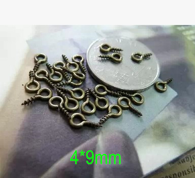 Free Shipping -80 gram (around 1000 pcs) Small Screw Eyes,4*9mm Antique Bronze Tiny Eye Hooks,Jewelry Findings Charms Making(China (Mainland))
