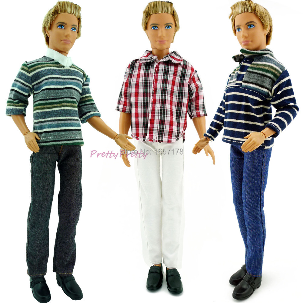Free Shipping 3 Sets Men Streak Casual Suit Clothes Prince Fashion Wear Outfit For Barbie Friend Ken Doll Best Gift baby Toy(China (Mainland))