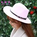 British Style Winter Unixes Men and Women Straight Large Wide Brim Cap Jazz Hat Imitation Wool