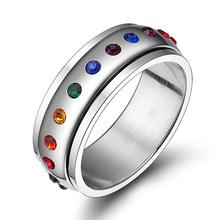 Moda Rainbow Anéis de Cristal Para Mulheres E Homens Anéis De Casamento Do Aço Inoxidável Jóias da Fêmea Do Partido