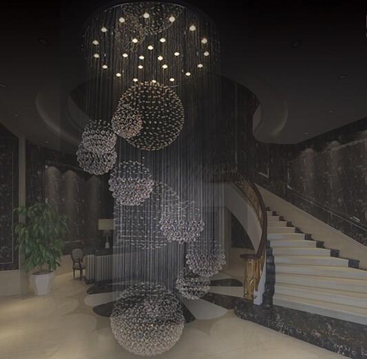 Купить Новый современный отель, лобби-большая хрустальная люстра лестница люстра Dia90xH300cm высококачественный свет бесплатная доставка