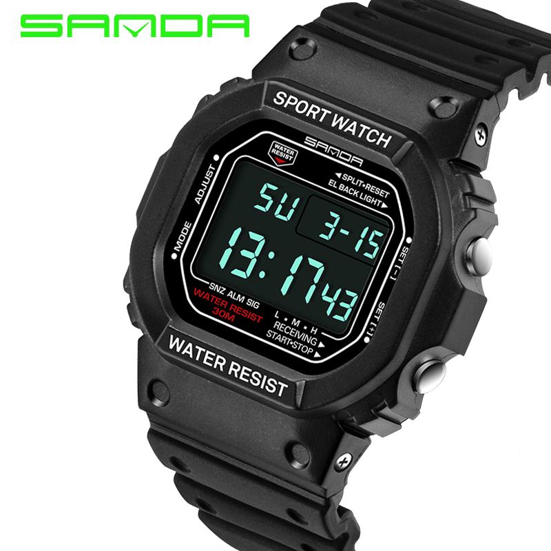 SANDA Brand Men Glow Sport Watches30m waterproof Digital LED Sports Military Watchs Shock Men Luxury Analog Quartz Digital Watch(China (Mainland))