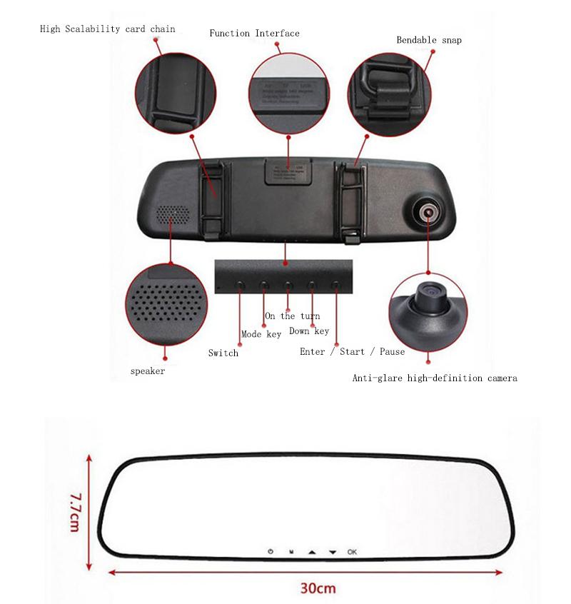 Hot Sales Car camera recorder 2.4 inch Car DVR Mirror HD rearview mirror tachograph Rearview Mirror dash camMirror Blackbox(China (Mainland))