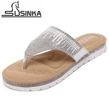 Plus size 35-41 2016 new women flip flops female diamond thong flat sandals shiny rhinestones comfortable women sandals slides(China (Mainland))