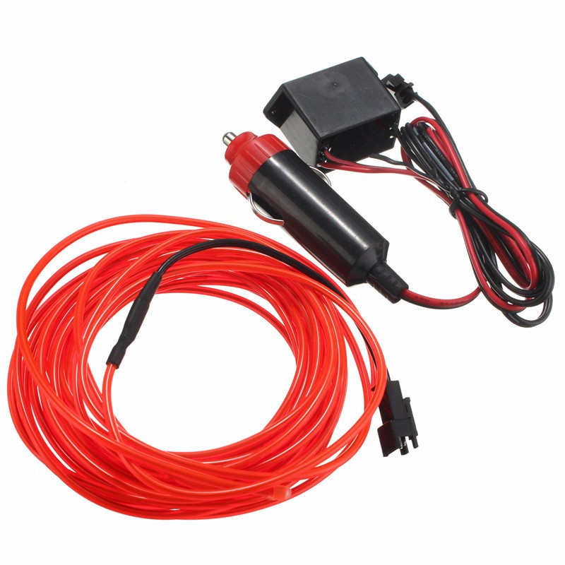 Best Price Multicolor Flexible 5M EL Wire Rope Tube Strip Neon Cold Light Party Dance Car Decor With 12V Inverter(China (Mainland))
