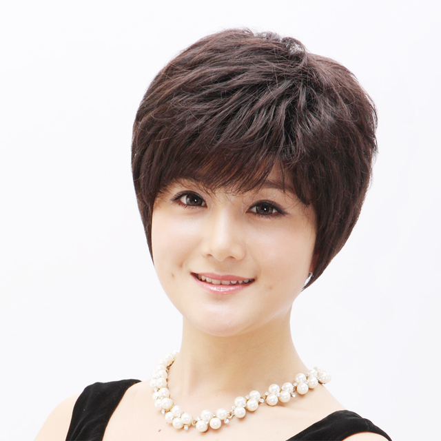 Wire women's wifing stubbiness quinquagenarian real hair wig fluffy short hair wig b299