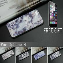 Superior TPU Phone Cases For Iphone 4 4s Case Marble Stone Image Painted Cover Mobile Soft TPU Case + Brand New Screen Protector