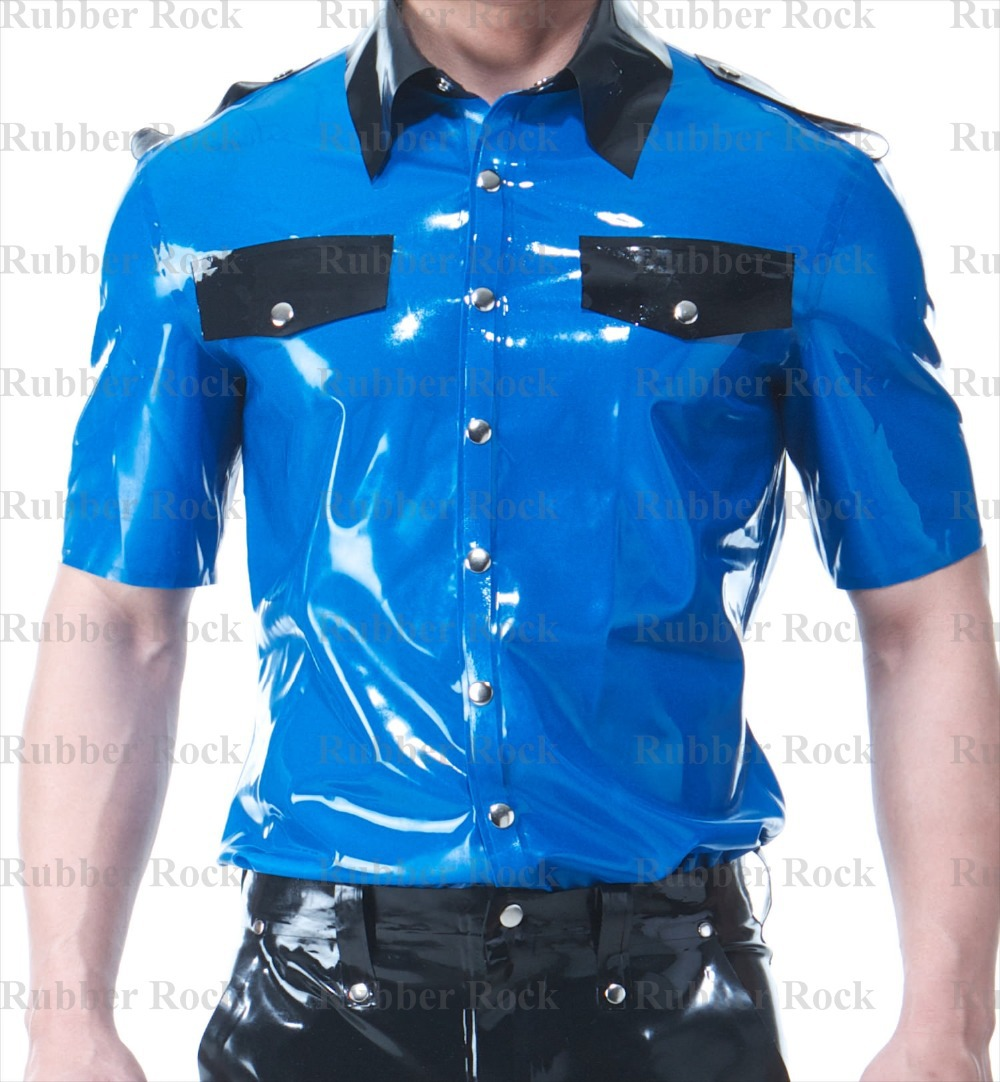 Free Shipping Latex Uniform Shirt Fetish Short Sleeve Rubber Top for Male(China (Mainland))