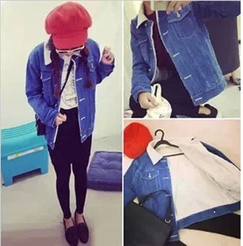 Fashion 2015 Winter Jacket Women Lambs Wool Denim Coat Spring Warm Clothing Casual Feminino Outwear AH796 - Three girl store