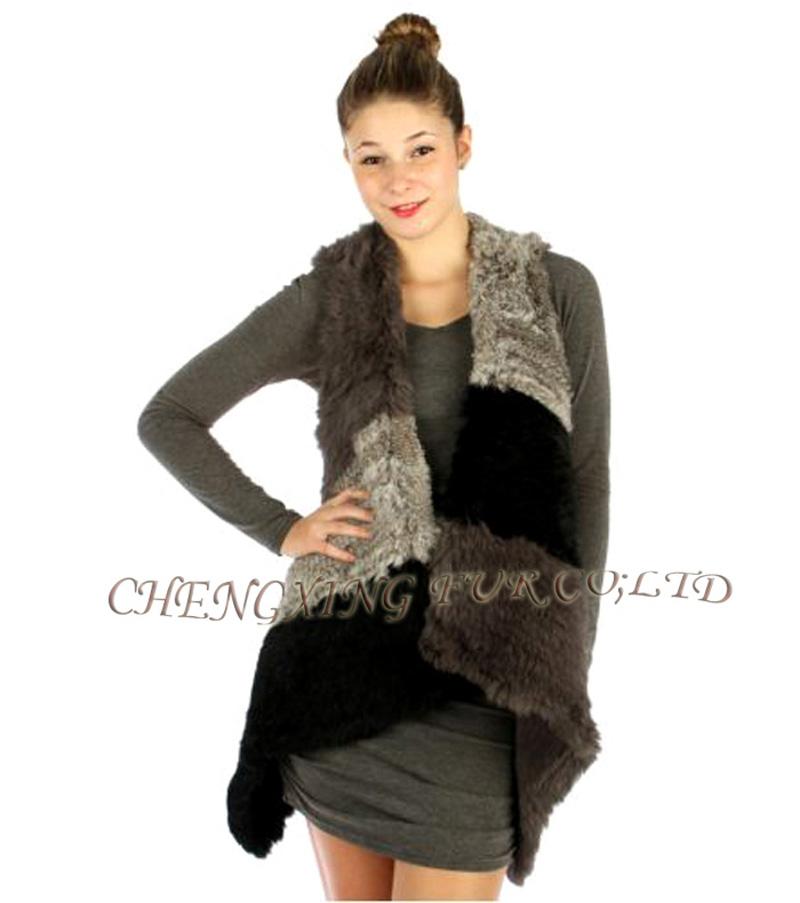 CX-G-B-260 2015 New Fashion Genuine Knitted Rabbit Fur Vest Nature Women Rabbit Fur Waistcoat Winter Warm Fur Gilet