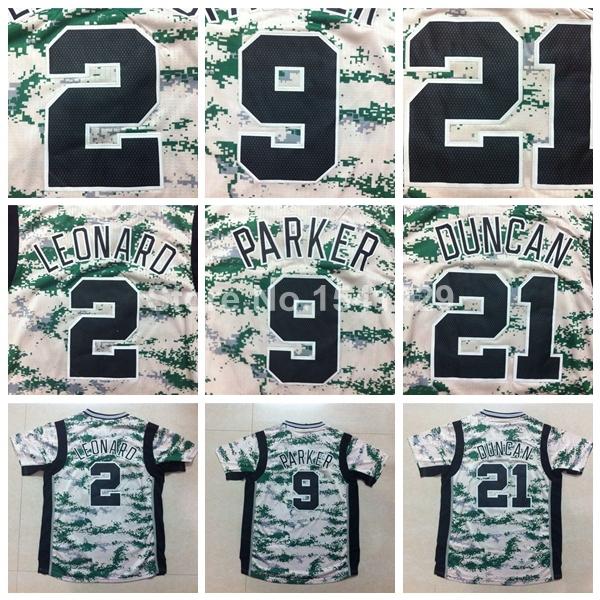 New Arrival!!! 2015 San Antonio 2 Kawhi Leonard 9 Tony Parker 21 Tim Duncan Rev 30 Stitched Camo Short Sleeved Basketball Jersey(China (Mainland))