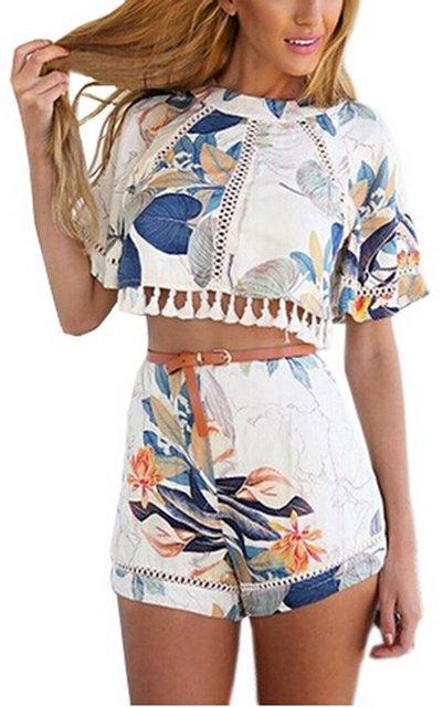 Старинные Двух Частей Топ набор Цветочный Печати Белая Рубашка С Коротким Рукавом Блузка + Шорты Комбинезон 2016 Новая Мода Леди наборы