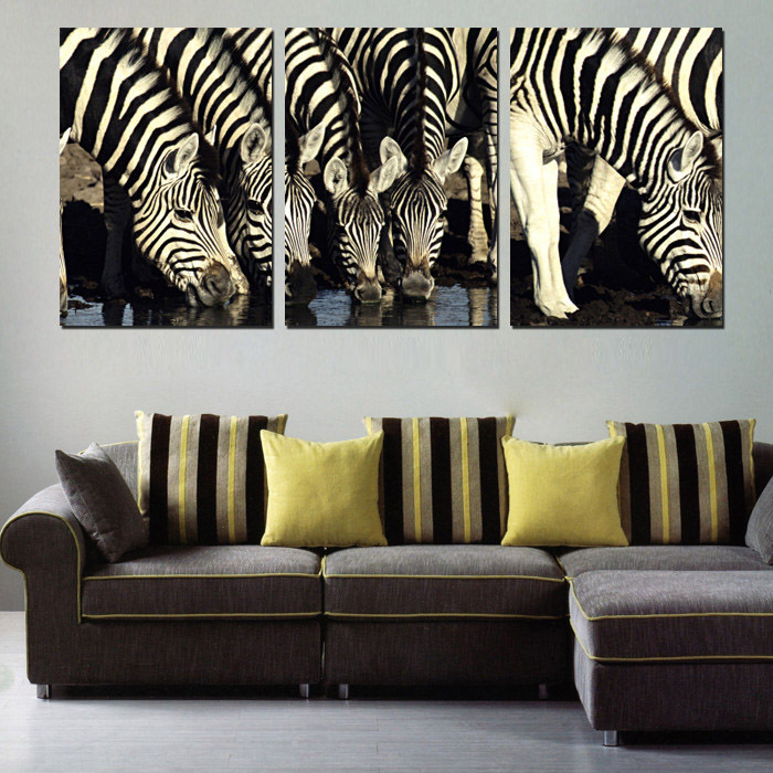 Wall Decor Pictures White And Black African Grassland Animal Art