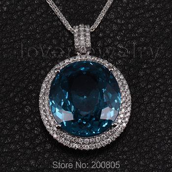 Oval 17x19mm 18Kt White Gold 30.94ct Diamond London topaz Wedding Pendant P171B