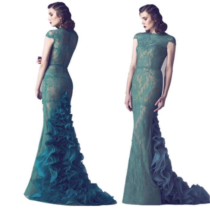 Plus Size Green Lace Dress With Sleeves Prom Dresses Vicky