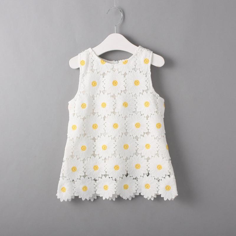 Girls dresses summer 2016 kids flower dresses for girls children clothing sleeveless toddler princess dress girl(China (Mainland))