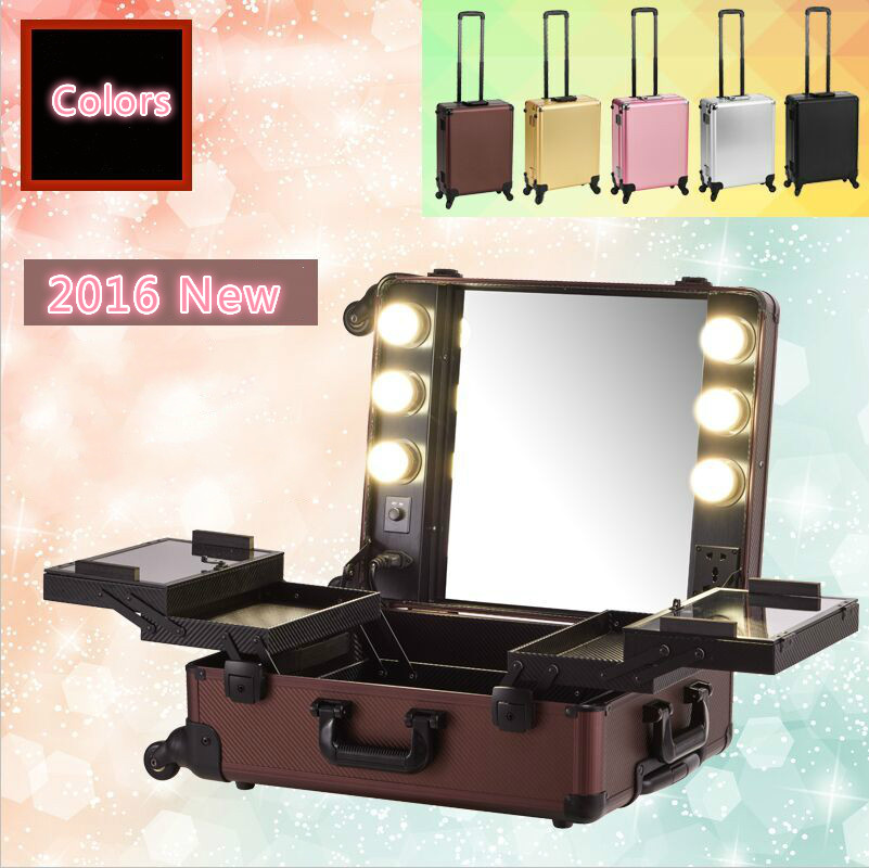 Five Colors Aluminum frame with PVC Makeup Artist Train Case with Lights Pro Station Portable Studio Wheeled 2016 New(China (Mainland))