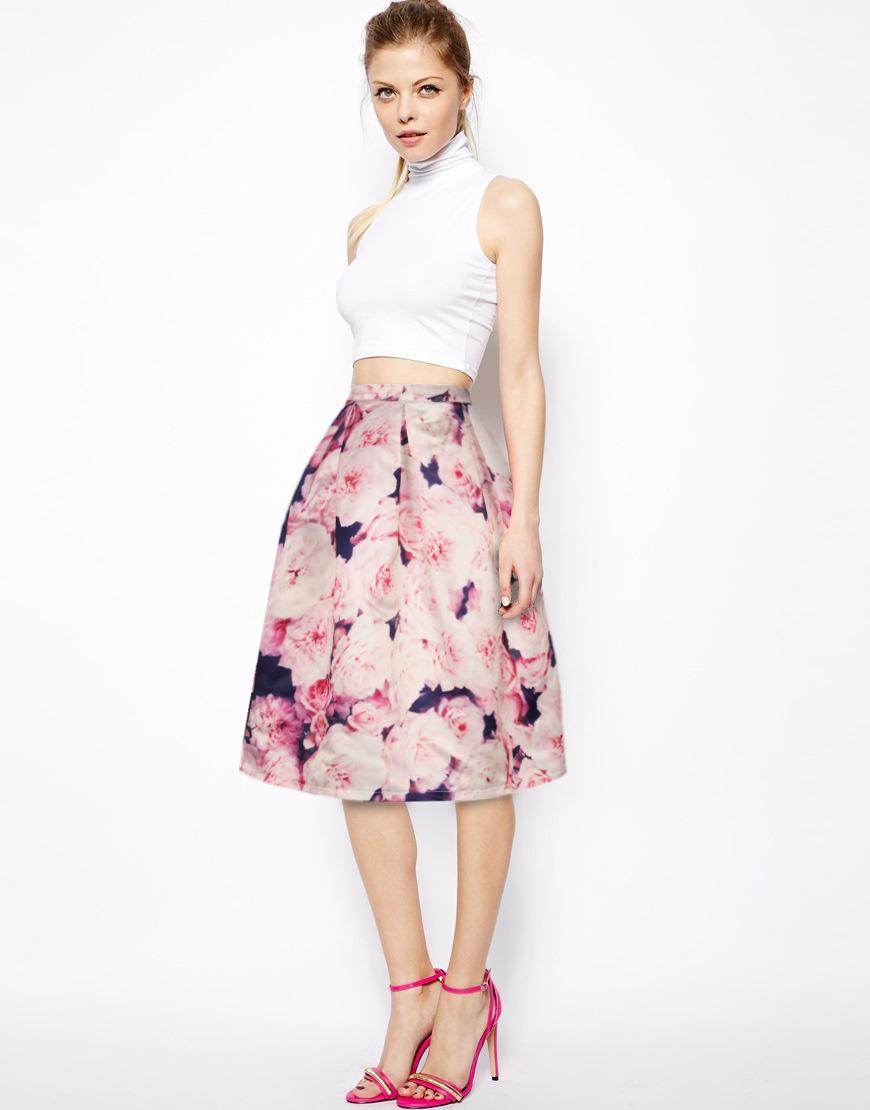 2016 Summer New Ted Baker Dollia Kaileidoscope Floral Flippy Summer Skirt Womens Elegant Vintage Pinup Retro Saia Midi Skirt(China (Mainland))